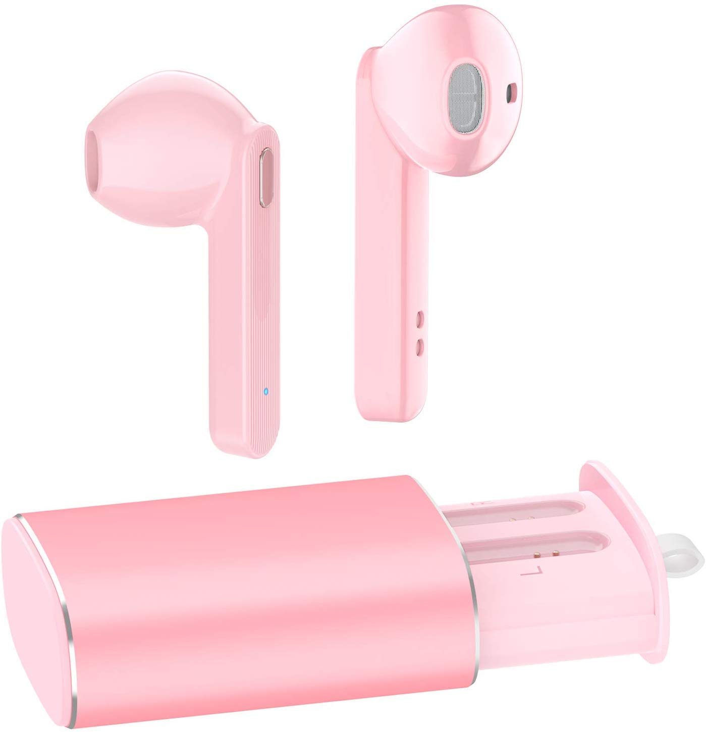 Wireless Earbuds, Bluetooth Earbuds 24 Hrs Playtime,IPX5 Waterproof Headphones with Wireless Charging Case, Bluetooth 5.0 HD Stereo Built-in Mic in-Ear Sports Earphones for (Pink) (Pink)