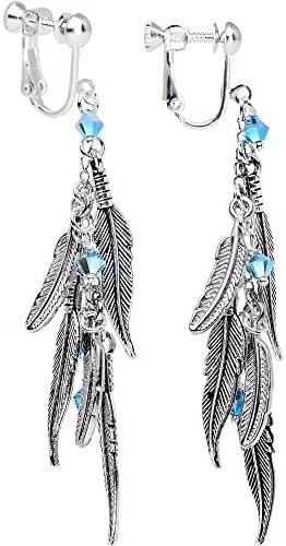 Body Candy Handcrafted Cascade of Feathers Clip On Earrings Created with Swarovski Crystals