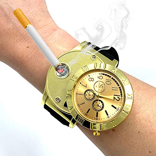 ArcWatch Men's Stylish Flameless Windproof USB Cigarette Lighter/Watch | Heat Coil Ignition | Quartz Timepiece (Black Leather Strap, Gold Plated Bezel)