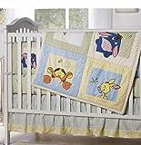 Kidsline Disney Winnie the Pooh Soft and Fuzzy 7 Piece Baby Quilt Crib Bedding Set