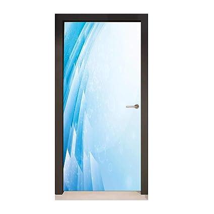 Abstract Decorative Door Sticker Ocean Inspired Aquatic