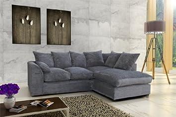 Exceptional Porto Jumbo Cord Corner Sofa, Settee, Full Chenille Cord Fabric In Grey ( Grey