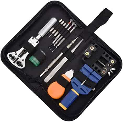 Zeiger Professional Watch Repair Tool Resizing Kit, Band Replacement Opener Spring Bar Adjustment Remover Set Bonus Kit Deluxe Set, Link Pin Sizing Back Case Removal Changing Batteries