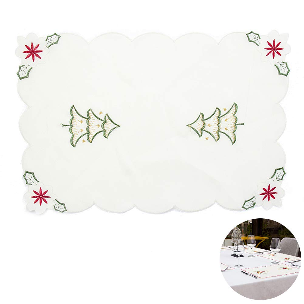 YaptheS 1pc Embroidered Christmas Placemat Holiday Holly Tree Table Placemats Exquisite Table Mat 11''x 16.5'' inches Christmas Style