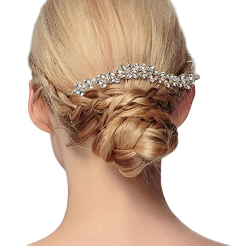 Bueer Bridal Crystals Hair Side Comb Bridesmaids Rhinestones Hair Clips Headpiece For Weddings, Festive Party, Special Occasions, Memorial Gift (B Tradition Vintage) 12 Vintage Swarovski Art