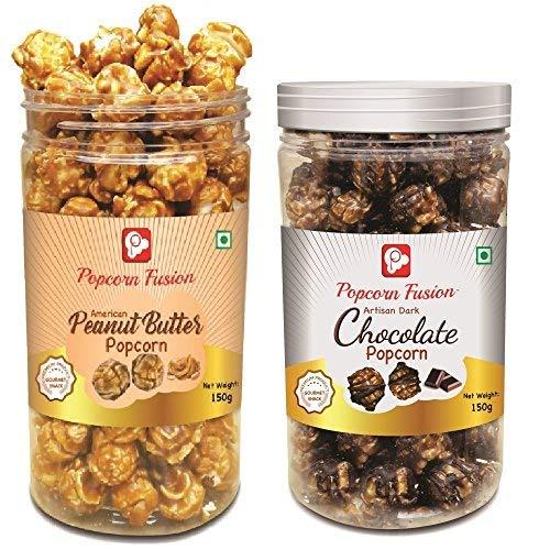 Popcorn Fusion – Gourmet Popcorns, Ready to Eat Premium Chocolate & Peanut Butter Jars, 2x150gm