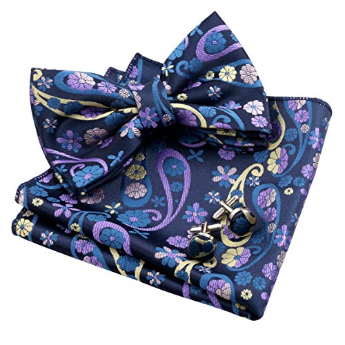 Alizeal Mens Handmade Floral Pre-Tied Bow Tie, Hanky and Cufflinks Set, Navy+Yellow