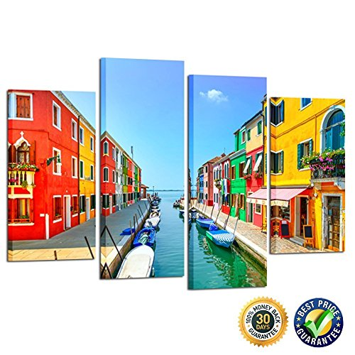 Kreative Arts   4 Panel Canvas Wall Art Venice Landmark Burano Island Canal Colorful Houses And Boats Italy Long Exposure Photography Art Prints Home Decor Ready To Hang L47xh32inch
