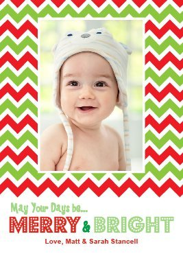 Customizable 5 X 7 Holiday Photo Greeting Card - Cheery Chevron (10 Qty.)