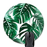 Wknoon Abstract Tropical Leaves Print Art Green Round Mouse Pad, Cute Green Palm Leaf Painting Circular Mouse Pads for Computers