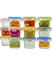 lunchley Glass Baby Food Storage Containers with Lids | Set of 12 | 5 oz Glass Food Containers | Freezer Storage | Reusable Small Glass Baby Food Containers | Microwave & Dishwasher Safe | for Infant & Babies