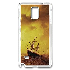 VUTTOO Rugged Samsung Galaxy Note 4 Case, Sea Storm Waves Old Ship PC Hard Case for Samsung Galaxy Note 4 N9100 Transparent
