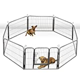 OxGord Metal Wire 8-Panel Folding Exercise Yard Fence for Pets - 24 Inch - Black