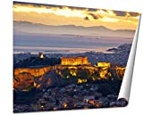 Ashley Giclee Athens Greece After Sunset Parthenon And Herodium Construction In Acropolis Hill wall art poster print for bedroom, ready to frame, 16x20 Print