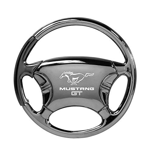 Ford Mustang GT Black Chrome Steering Wheel Key Chain
