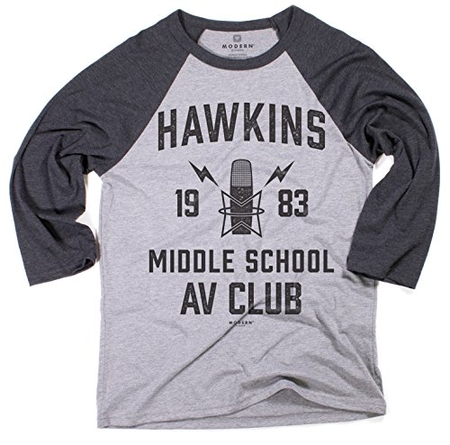 Superluxe Clothing Mens Unisex Hawkins Middle School AV Club Vintage Style Tri-Blend Baseball T-Shirt, Grey/Charcoal Tri Blend, X-Large