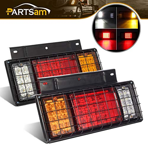 Partsam 2Pcs LED Truck Trailer Tail Lights Bar Kit 40 LED w Iron Net Protection Replacement for GMC W Series/Compatible with Isuzu Elf Truck NPR NPR-HD NKR NHR NRR FSR FRR 1984- Taillight Assembly