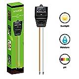 Sonkir Soil pH Meter, MS04 3-in-1 Soil Moisture/Light/pH Tester Gardening Tool Kits for Plant Care, Great for Garden, Lawn, Farm, Indoor & Outdoor Use (Black)