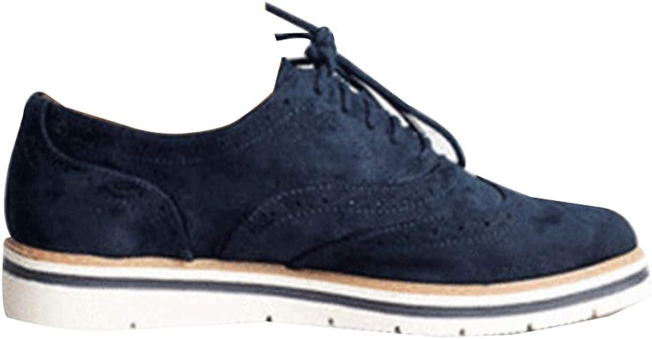 Zapatos de Cuero Casual Mujer Zapatos Planos con Cordones Mujer ...