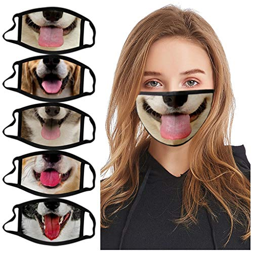 【USA In Stock 】5PCS Adults Animal Print Funny Face Bandana_Covering_MASK Face Protection for Women and Men, Adjustable Fashion Outdoor Washable Reusable Quick-drying Anti-Haze Face Fabric For Cycling Camp
