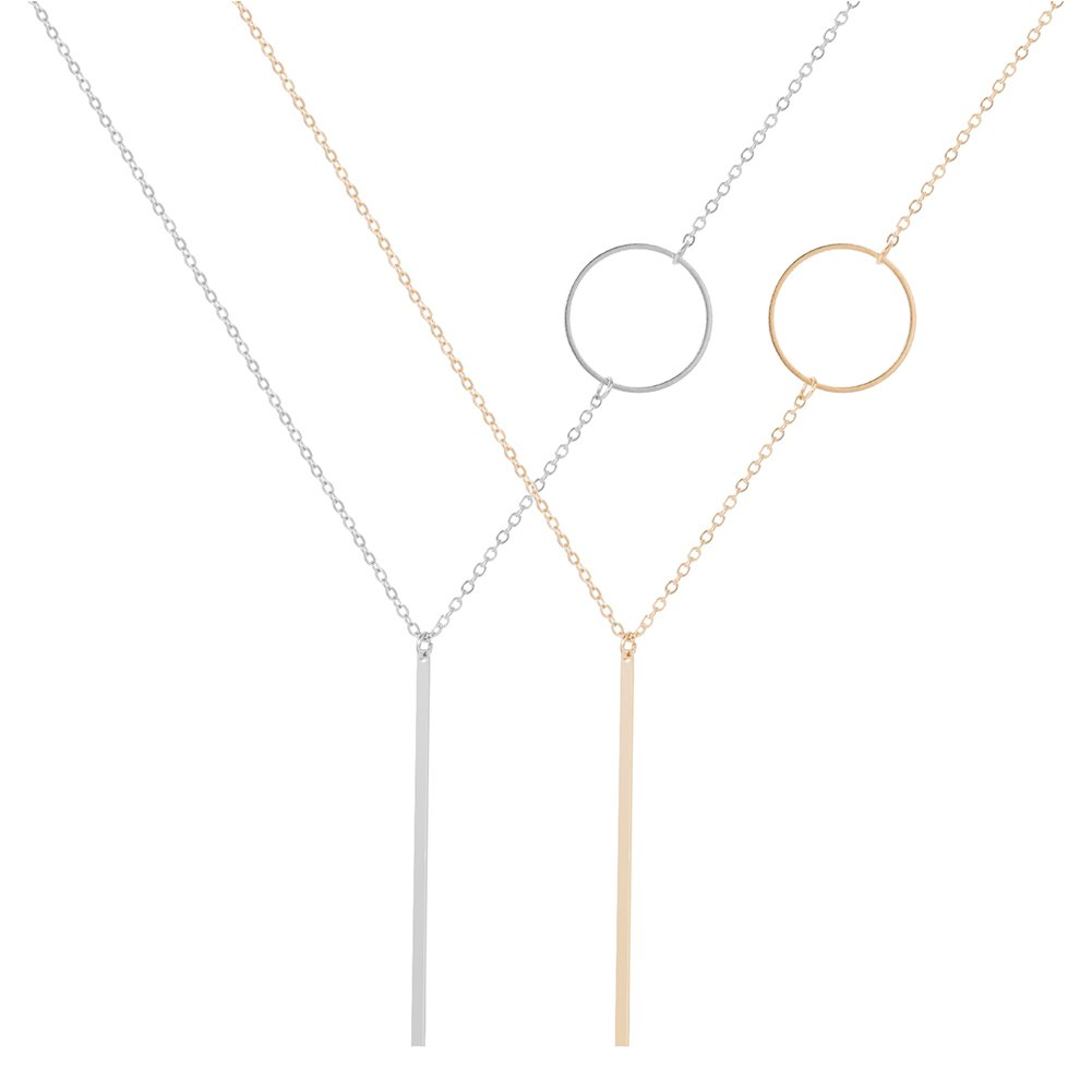 2PC Silver and Gold Y Layer Simple Bar Pendant Necklace Center Long Lariat Chain Best Fashion Jewelry For Women WMAO B0776Y96W7_US