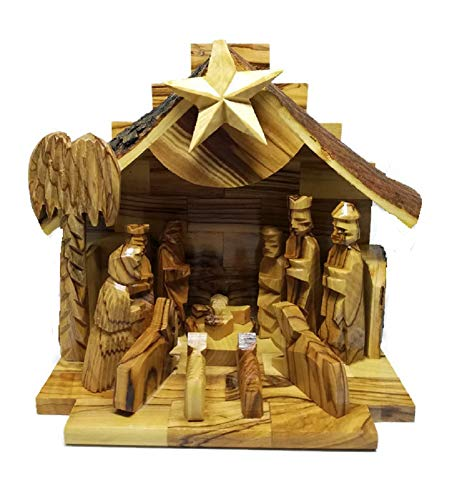 - HolyRoses Olive Wood Silent Night Musical Nativity | Bark Roof | Handcrafted in Bethlehem | 6.5