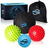 Deep Tissue Massage Ball Set - Includes 5' Foam Roller Mobility Ball, Spiky Balls, and Lacrosse Ball, for Trigger Point Therapy, Myofascial Release, Foot Reflexology, Plantar Fasciitis
