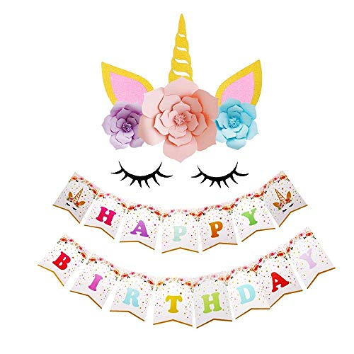DIY Unicorn Backdrop Party Supplies Decorations Paper Flower Backdrop with Glitter Giant Horn Ears Eyelashes Set for Child Birthday Party Background with Bithday -