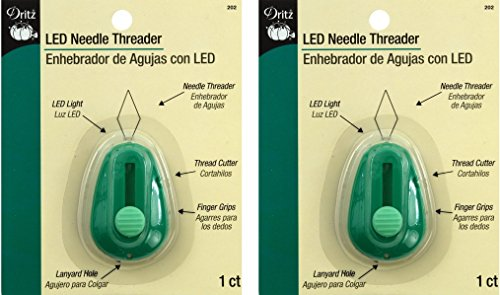 Dritz LED Lighted Needle Threader, Green (2 Pack)