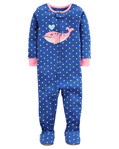 Carter's Baby Girls' 1-Piece Snug Fit Cotton Pajamas (24 Months, Pink Whale) - Carters 1 Piece Cotton