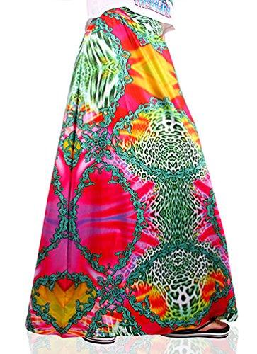 Niseng Mujeres Falda Larga Estilo Bohemia Impresión Maxi Falda De La Playa Verano Casuales Falda Estilo 10#