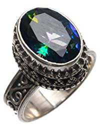 StarGems(tm) Sterling Silver Natural Mystic Fire Topaz (Unique Design Antique style) Ring, US Size 7.5