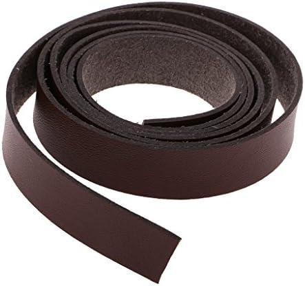sharprepublic 2 Meter Lederband flach 15mm breit Lederriemen Lederbänder für DIY Taschengriffe, Gürtel - Kaffee, 2 Meter