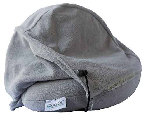 (Lights Out - The First Block Out The World Travel Pillow - (Gray) with Hoodie, Full Face Coverage and Contour Neck Support. Perfect Travel Pillow for Sleeping in Car, Airplane, Bus or Train.)