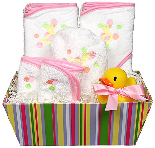 Raindrops Bubbles N' Stripes Hooded Towel Set, Pink