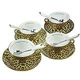 Bone China Ceramic 4 sets Tea Cup Coffee Cup,Leopard-Print,Brown And Black