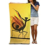 Fisbexy Super Absorbent Beach Towel Mantis Dance and Sun Polyester Velvet Beach Towels