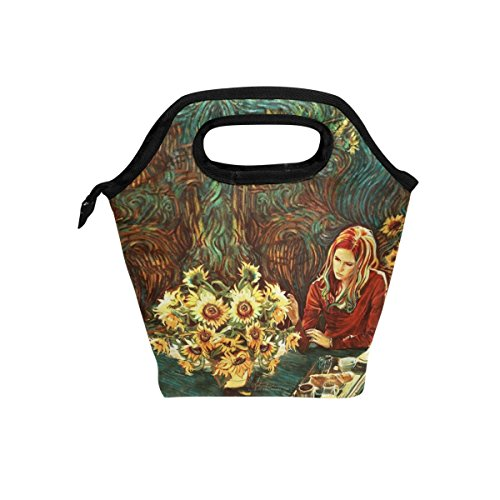 Vipsk Lunch Bag for Adults/Men/Women/Kids,Vincent Van Gogh Karen Gillan Amy Pond Doctor Who Lunch Box, Waterproof Outdoor Travel Picnic Carry Case Lunch Handbags Tote with Zipper, Black]()