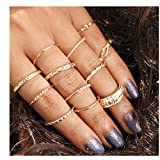 HUAMING 10PCS Bohemian Retro Ring Gold Vintage Crystal Joint Knuckle Ring Finger Rings Ethnic Style Rings (Silver)