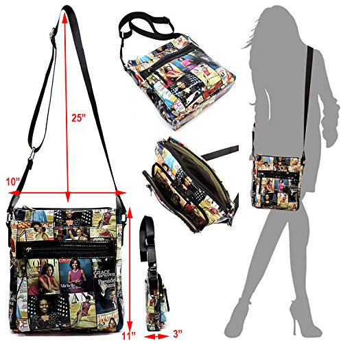 large Michelle bags Glossy crossbody Black bag Multi magazine collage Obama purse cover qwwSgA