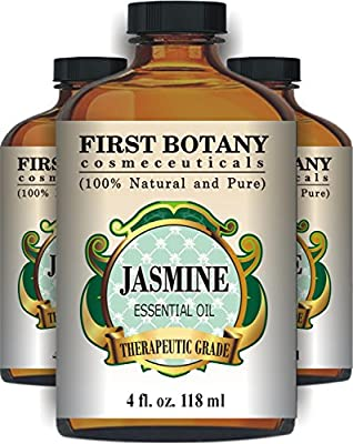 Jasmine Essential Oil 4 fl. oz. With a Glass Dropper - 100% Pure and Natural with Premium Quality & Therapeutic Grade - Ideal for Aromatherapy & Maintaining Healthy Skin