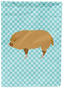 Caroline's Treasures BB8108GF Hungarian Mangalica Pig Blue Check Garden Flag, Multicolor