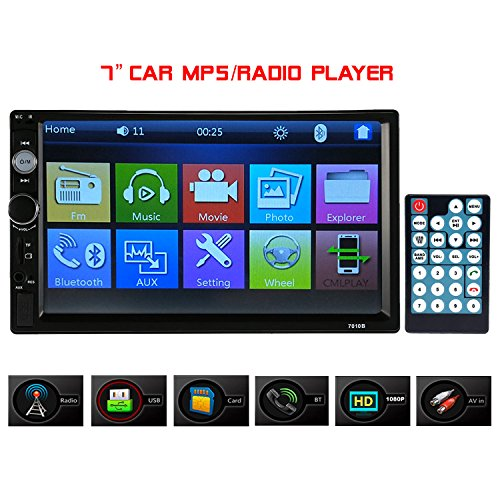 Carlike Double Din Car Stereo,7 Inch Touch Screen Car Radio MP3/MP5/FM Player Supports Bluetooth/USB/TF with Wireless Remote Control