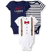 Hudson Baby Baby Infant Cotton Bodysuits, Bonjour Ladies 3 Pack, 6-9 Months
