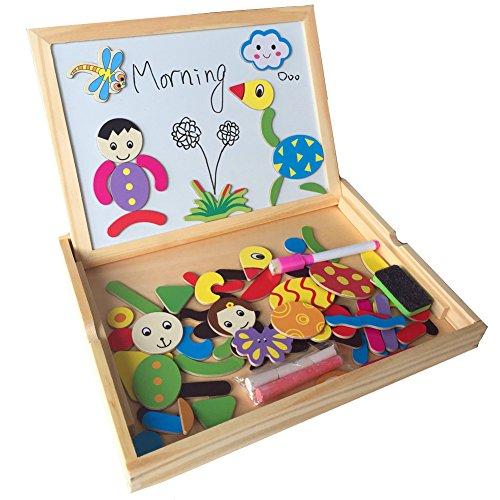 Fajiabao – Pizarra de madera para niños, con doble cara, magnética, con piezas hacer figuras, juguete educacional