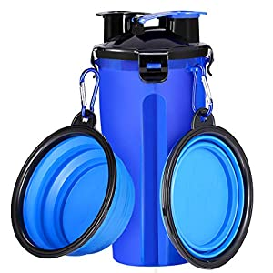 COOYOO Dog Water Bottle Dog Bowls for Traveling Pet Food Container 2-in-1 with Collapsible Dog Bowls, Outdoor Dog Water Bottles for Walking Travelling Hiking 2