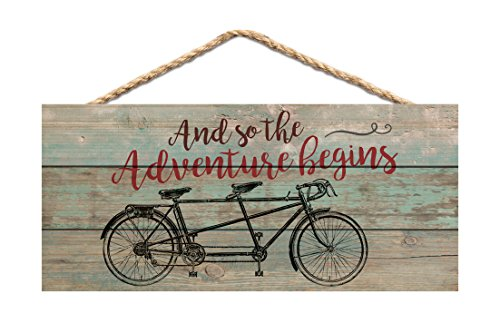 dem Bicycle Distressed 10 x 4.5 Wood Wall Hanging Plaque Sign ()