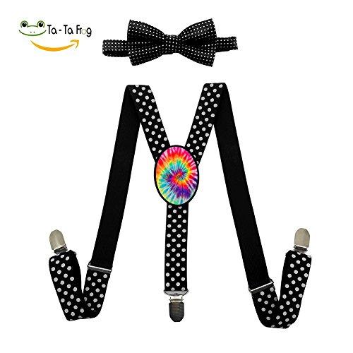 Xiacai Tie Dye Suspender&Bow Tie Set Adjustable Clip-On Y-Suspender Boys -
