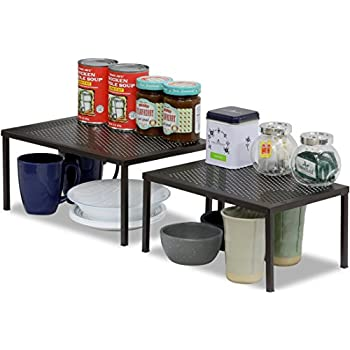Simplehouseware Expandable Stackable Kitchen Cabinet And Counter Shelf Organizer