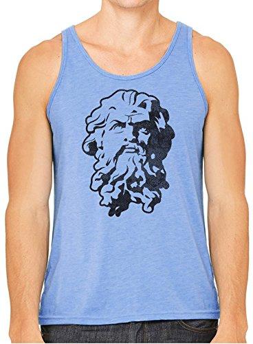 Austin Ink Apparel Greek God Statue Stencil Printed Unisex Tank Top, HBlue, M -